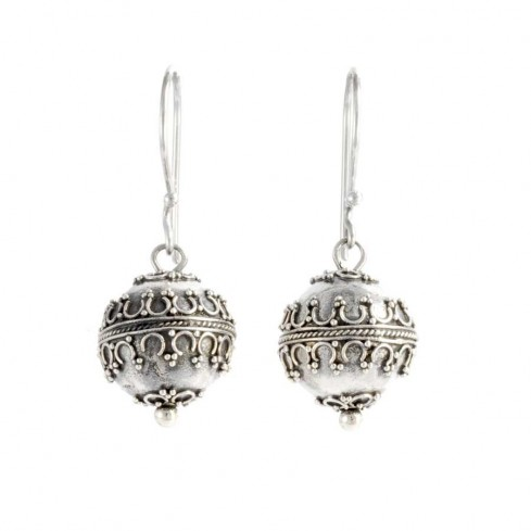 Handcrafted Sterling Silver Bola Earrings - SILVER EARRINGS - Boutique Nirvana