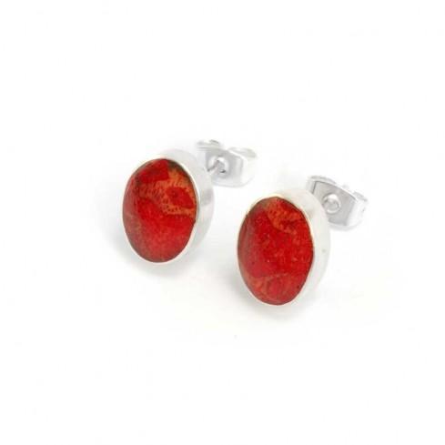 Boucles d'oreilles argent clou ovales - CORAL & NACRE - Boutique Nirvana