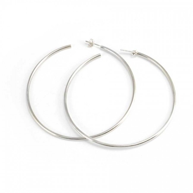 Silver Hoop Earrings with Stud Fastening - CREOLES ARGENT - Boutique Nirvana