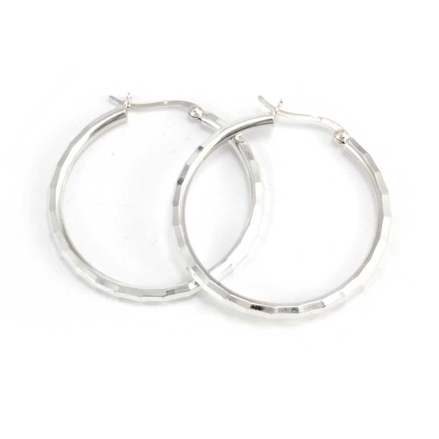 Medium Chiselled Silver Hoops - CREOLES ARGENT - Boutique Nirvana