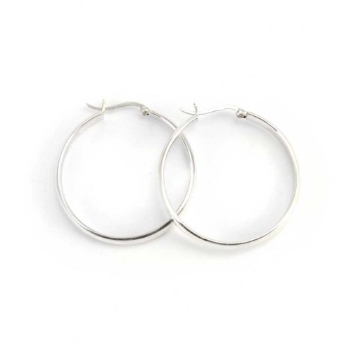 Smooth Thick Silver Hoops - CREOLES ARGENT - Boutique Nirvana