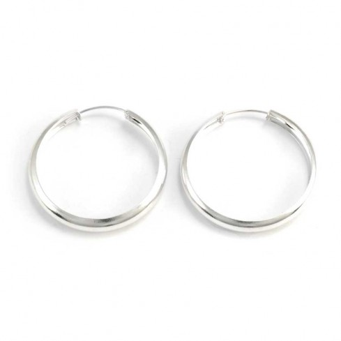 Créoles larges en argent - Silver Jewellery  - Boutique Nirvana
