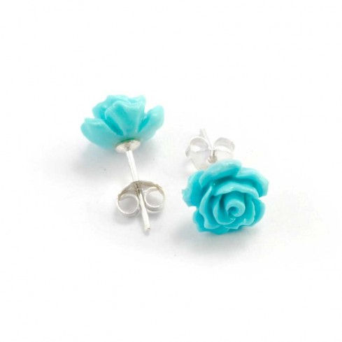 Boucles d'oreilles en argent clou rose - BOUCLES ARGENT - Boutique Nirvana