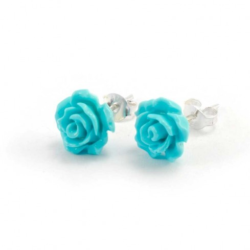 Coloured Rose Stud Earrings - SILVER EARRINGS - Boutique Nirvana