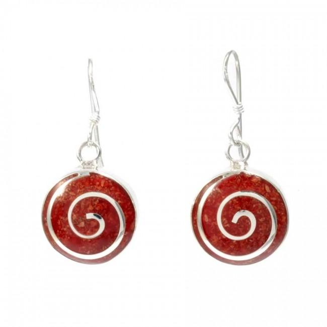 Boucles d'oreilles rondes spirales d'argent et corail - Corail, nacre etc. - Boutique Nirvana