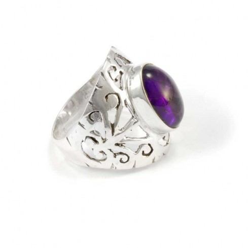 Hand Carved Silver and Stone Ring - Silver Rings - Boutique Nirvana