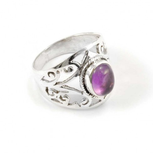 Sterling Silver and Oval Stone Ring - Silver Rings - Boutique Nirvana