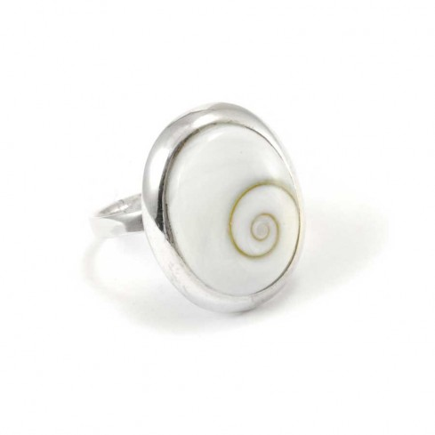 Eye of St Lucia Shell Silver Ring - Silver Rings - Boutique Nirvana