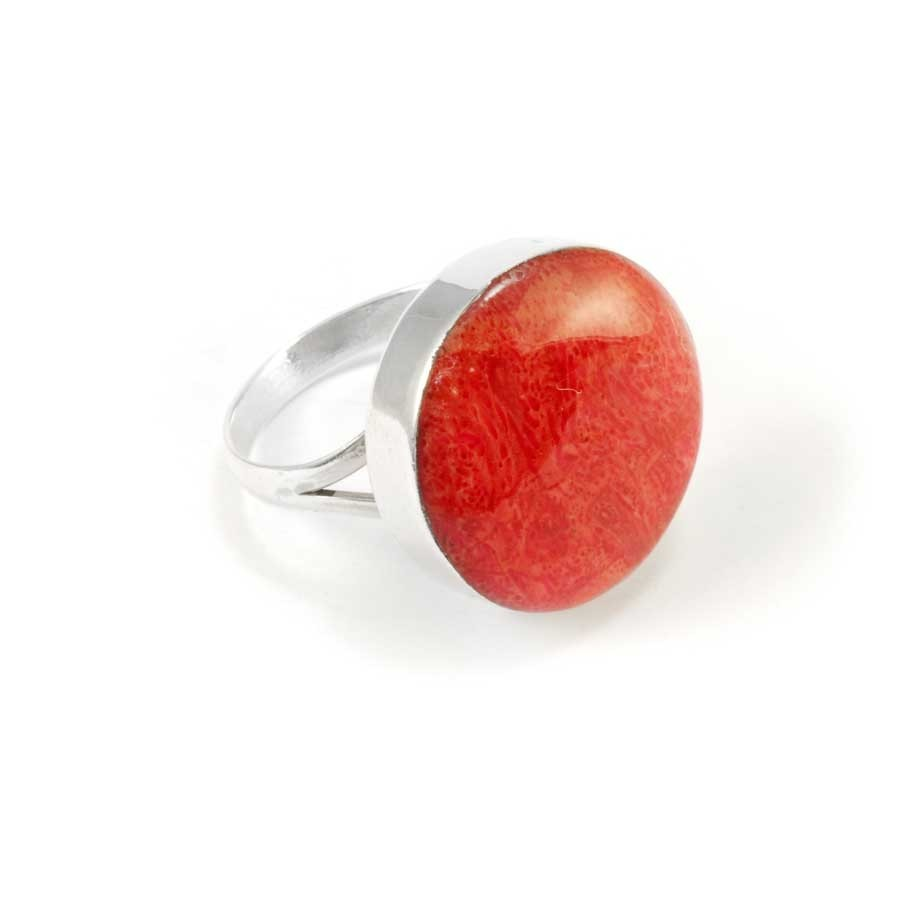 Coral and Sterling Silver Statement Ring - Silver Rings - Boutique Nirvana