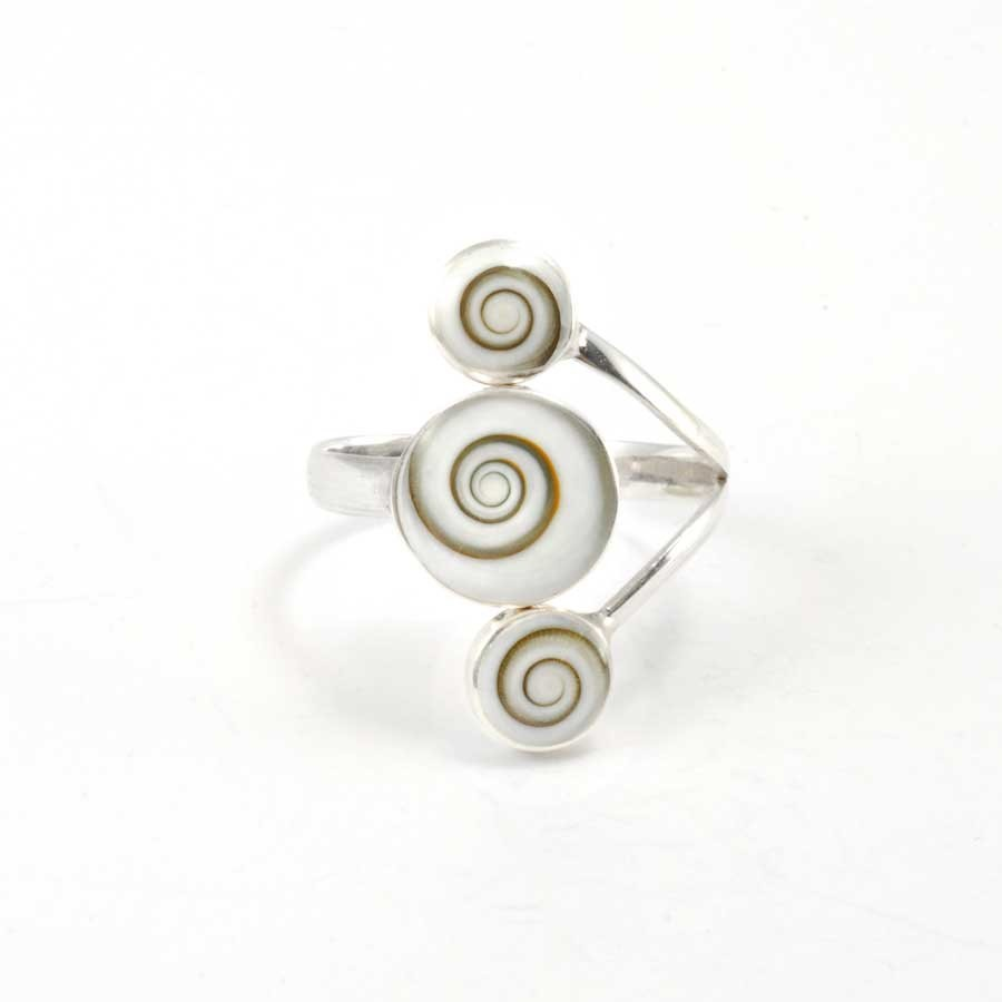 Unique Three-Stone Eye of St Lucia Ring - Silver Rings - Boutique Nirvana