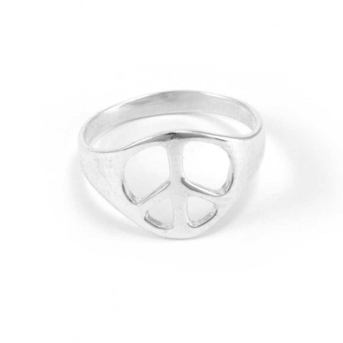 Sterling Silver Peace Sign Ring - Silver Rings - Boutique Nirvana