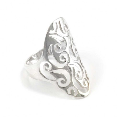 Long Celtic Spiral Silver Ring - Silver Rings - Boutique Nirvana