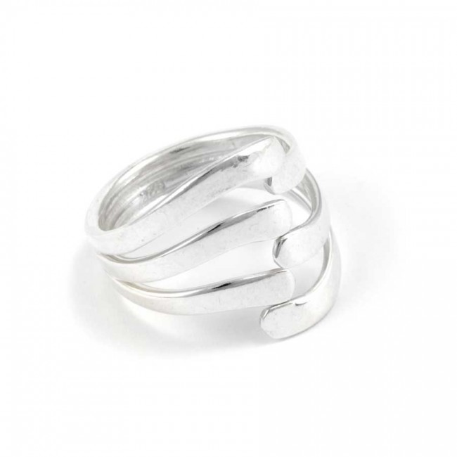 Contemporary Entwined Sterling Silver Ring - Silver Rings - Boutique Nirvana