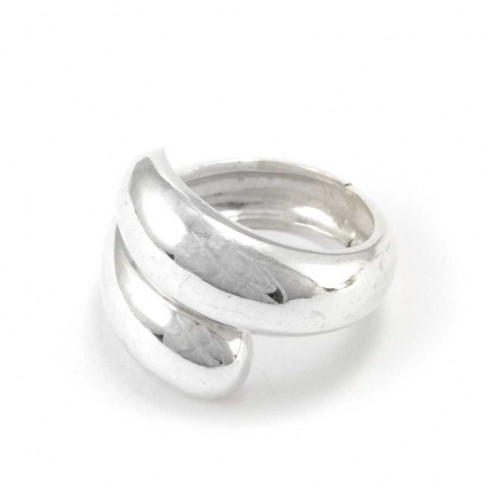 Contemporary Adjustable Silver Wrap Ring - Silver Rings - Boutique Nirvana