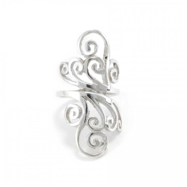Long Ethnic Spiral Silver Ring - Silver Rings - Boutique Nirvana