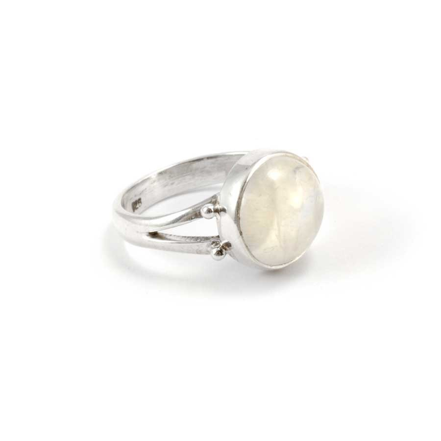 Sterling Silver and Round Stone Ring - Silver Rings - Boutique Nirvana