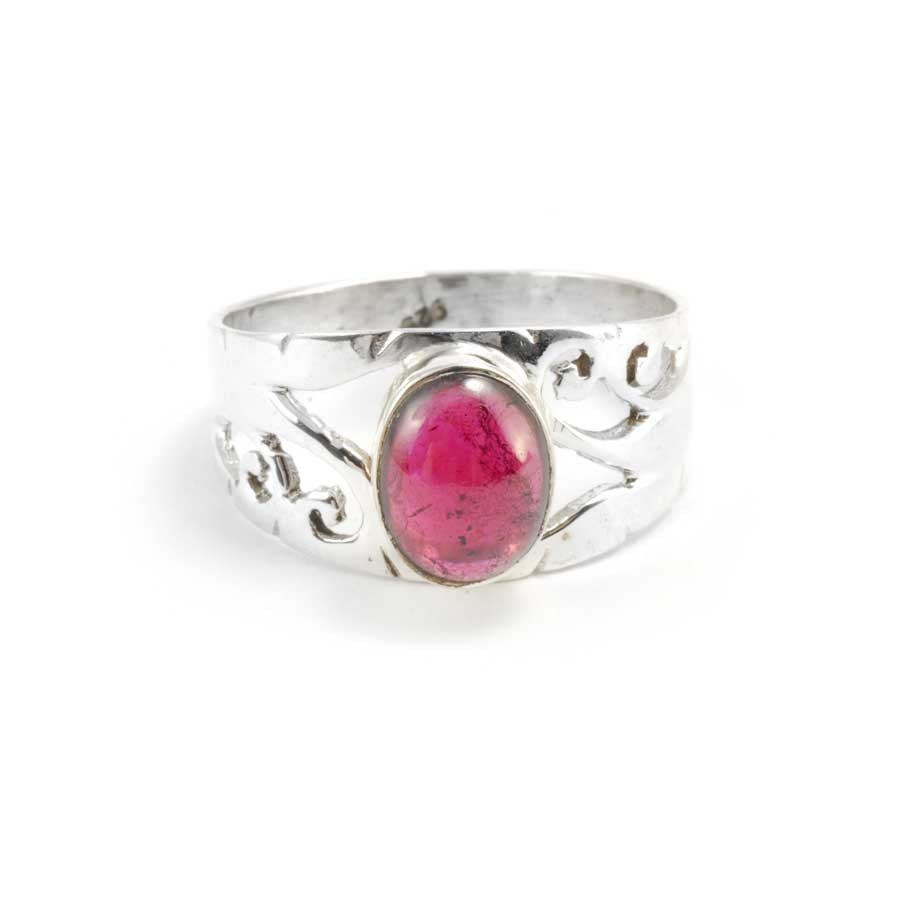 Ornate Sterling Silver & Natural Stone Ring - PIERRES FINES - Boutique Nirvana