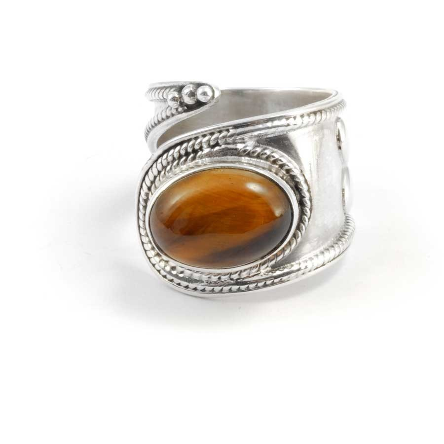 Contemporary Silver & Natural Stone Wrap Ring - Silver Rings - Boutique Nirvana