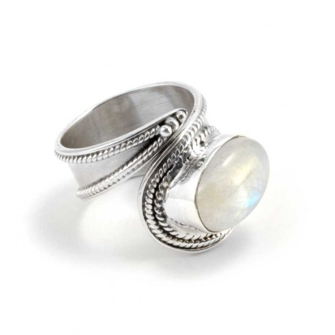 Contemporary Silver & Natural Stone Wrap Ring - Home - Boutique Nirvana