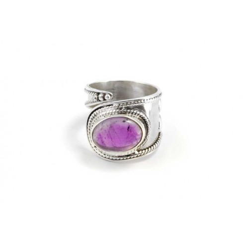 Contemporary Silver & Natural Stone Wrap Ring - PIERRES FINES - Boutique Nirvana