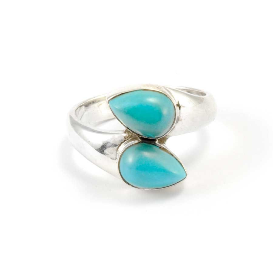 Silver and Double Teardrop Stone Ring - Silver Rings - Boutique Nirvana