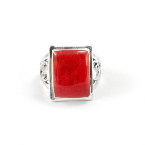 Stunning Coral or Moonstone Silver Ring - Silver Rings - Boutique Nirvana