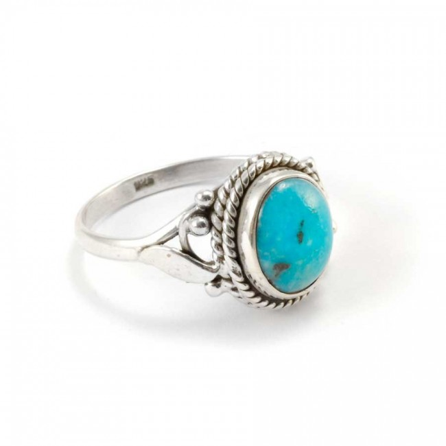 Fine Detailed Silver & Oval Stone Ring - Silver Rings - Boutique Nirvana