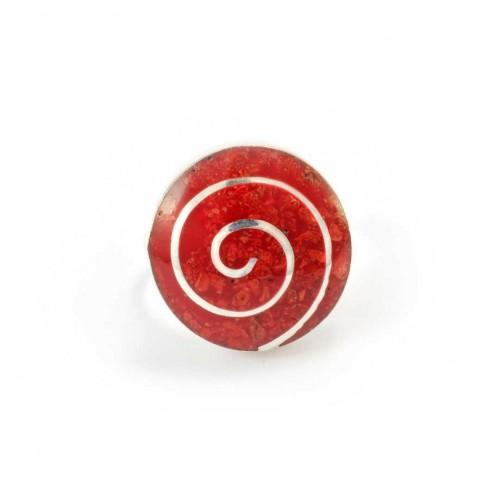 Bague corail ronde spirale argent