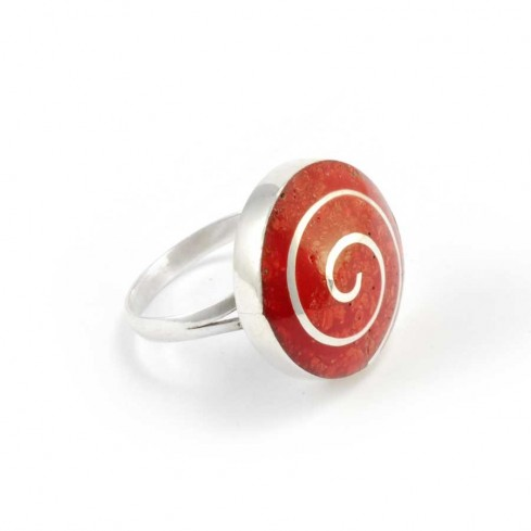 Coral and Sterling Silver Spiral Ring - Silver Rings - Boutique Nirvana