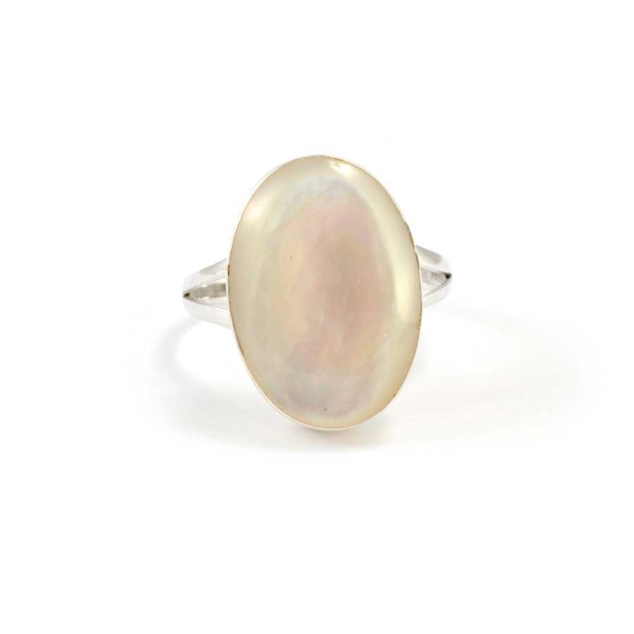 Bague argent nacre ovale - Silver Rings - Boutique Nirvana