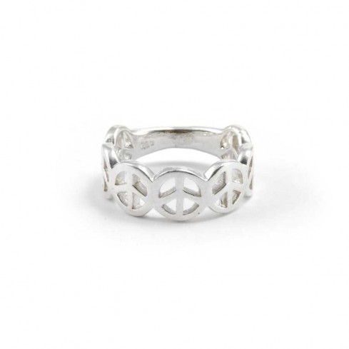 bague argent peace and love