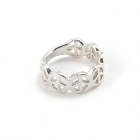 Quirky Silver Peace Sign Band - Silver Rings - Boutique Nirvana