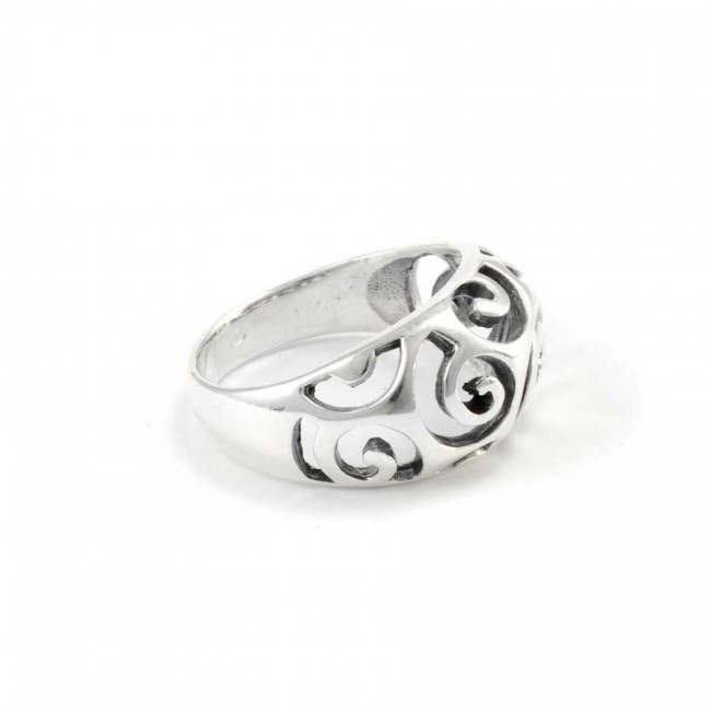 Rounded Indian Silver Spirals Ring - Silver Rings - Boutique Nirvana