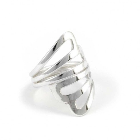 Large Silver Criss-Cross Ring - Silver Rings - Boutique Nirvana