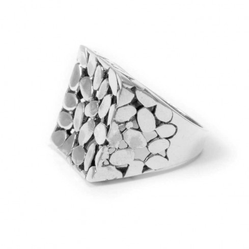 Balinese Silver Square Pebble Ring - Silver Rings - Boutique Nirvana