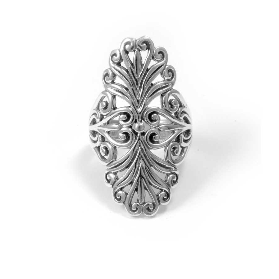 Vintage-Style Long Silver Ring - Silver Rings - Boutique Nirvana
