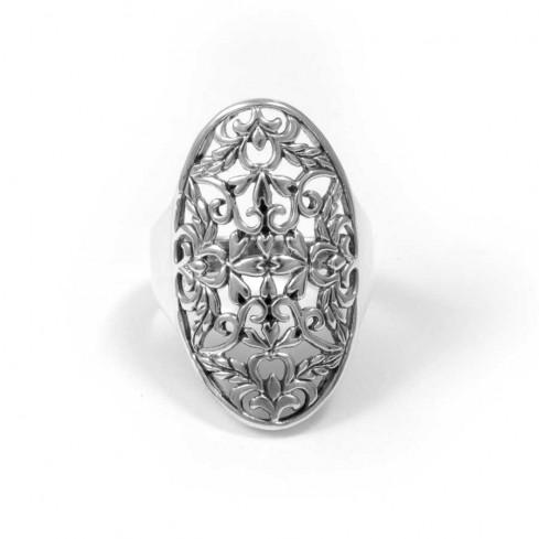Bague argent vieilli ovale florale - BAGUES ARGENT - Boutique Nirvana