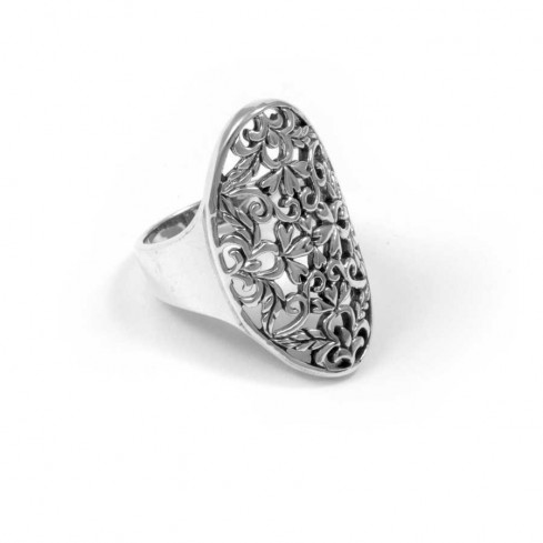 Vintage-Style Floral Silver Ring - Silver Rings - Boutique Nirvana
