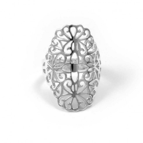 Contemporary Sterling Silver Flower Ring - Silver Rings - Boutique Nirvana