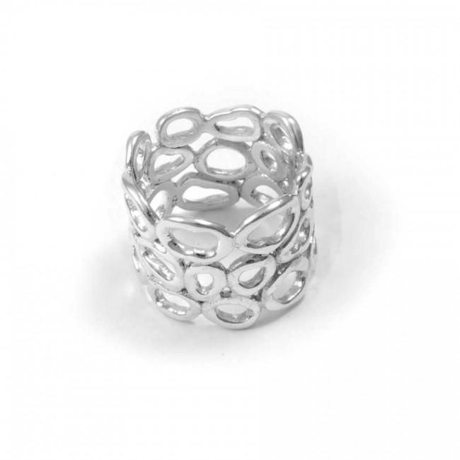 Bague argent large anneau galets ajourés - BAGUES ARGENT - Boutique Nirvana