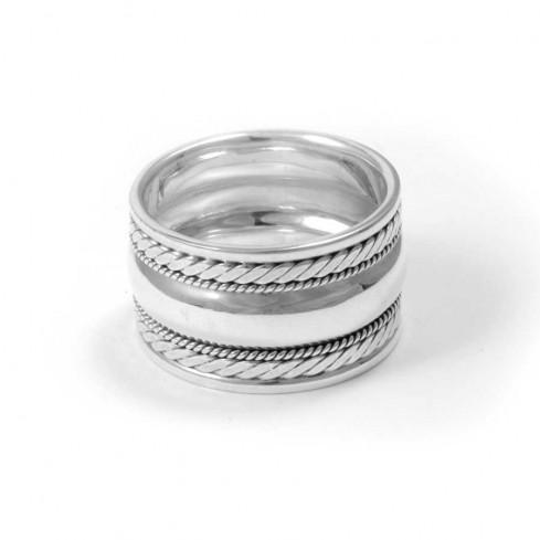 Bague argent large anneau bordure tréssée