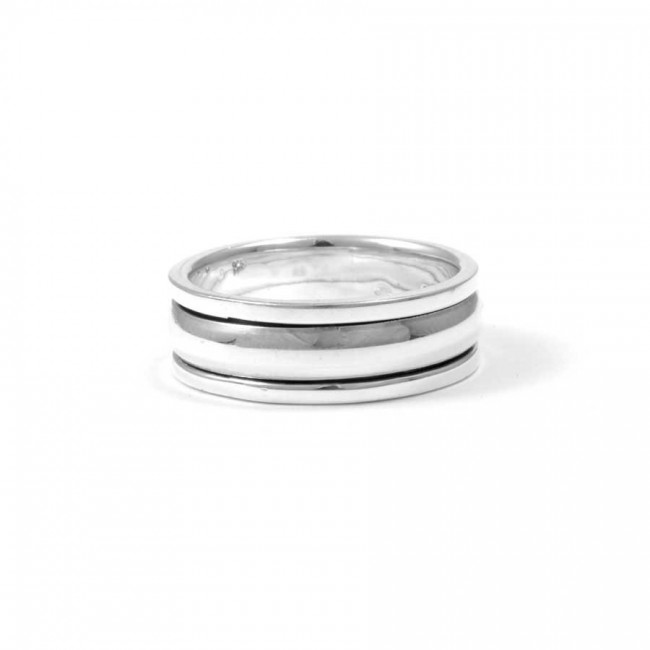 bijoux ethniques indiens argent bague anneau anti stress lisse 2 en 1