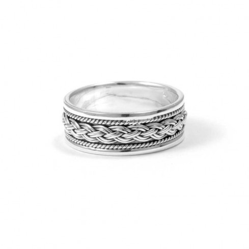 Chunky Braided Silver Ring with Border - ARGENT - Boutique Nirvana