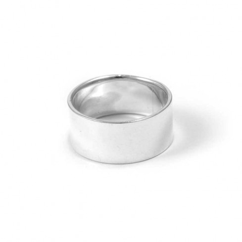 Wide Smooth Flattened Silver Ring - Silver Rings - Boutique Nirvana