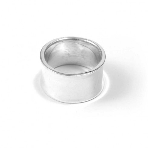 Large & Wide Smooth Flattened Silver Ring - Silver Rings - Boutique Nirvana