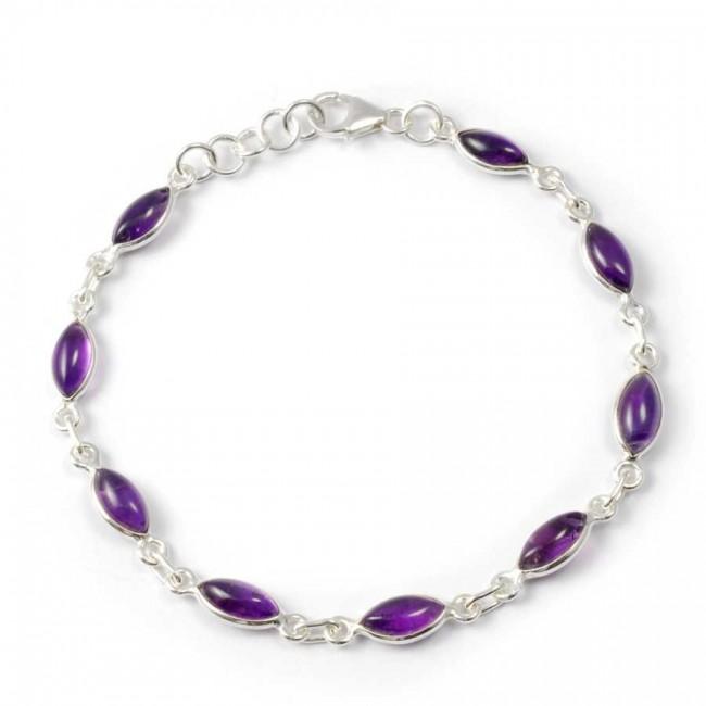 Elegant Silver Bracelet with Natural Stones - PIERRES FINES+ - Boutique Nirvana