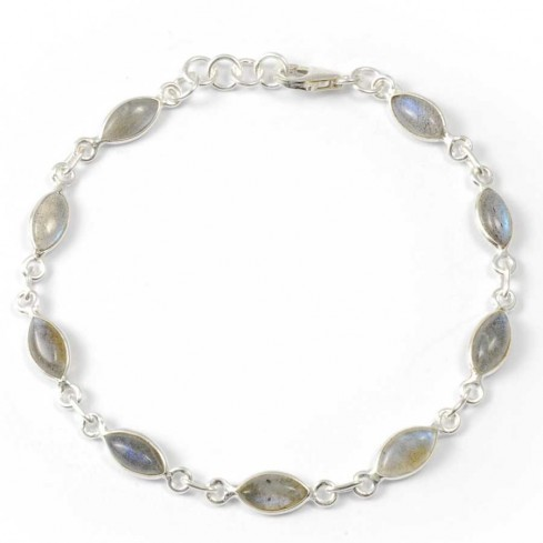 Bracelet argent pierres losanges - Pierres naturelles - Boutique Nirvana