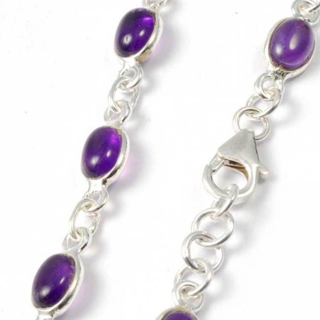 Silver Chain Bracelet with Oval Stones - Silver Bracelets - Boutique Nirvana
