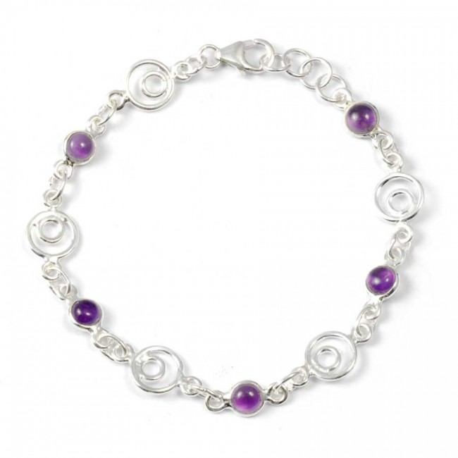 Silver Bracelet with Spirals and Stones - PIERRES FINES+ - Boutique Nirvana