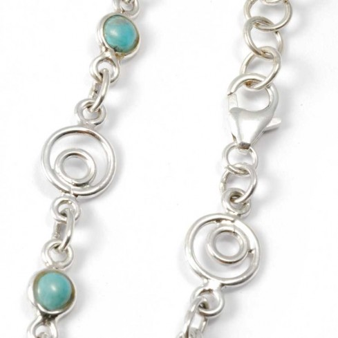 Silver Bracelet with Spirals and Stones - Silver Bracelets - Boutique Nirvana